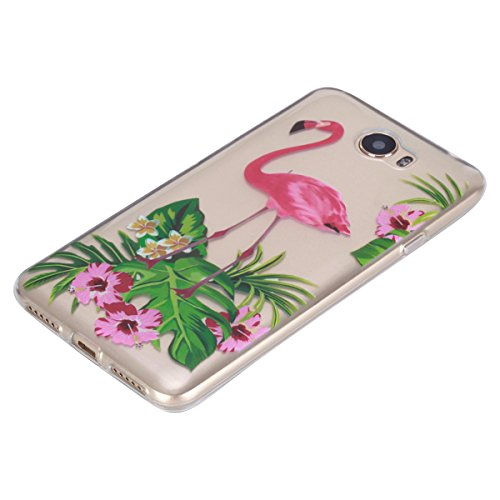 Ukayfe Custodia per Huawei Y5 II,Ultra Slim TPU Gel Gomma Silicone Copertura Case per Huawei Y5 II,Moda Serie Pattern Back Cover Crystal Skin Custodia Stilosa custodia di design Protettiva Shell Case  Flamingo fiori