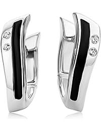 Miore Damen-Creolen 925 Sterling Silber Emaille schwarz und Zirkonia