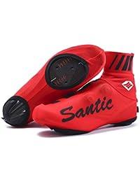 SANTIC Cubrezapatillas Ciclismo MTB Cubrezapatillas Bicicleta Cubrezapatos Ciclismo Carretera/Montaña Protector Zapatillas Ciclismo Rojo EU