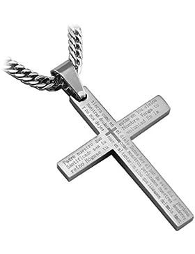 Neu Edelstahl Vater Unser Kreuzanhänger mit Spanischer Inschrift & Gratis Kette – Länge 60 cm – Gratis Lieferung...