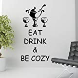 Decor Kafe 'Eat Drink and Be Cozy' Wall Sticker (PVC Vinyl, 58.42 cm x 27.94 cm, Black)