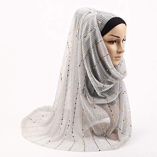 Wawer, modisch, Damen, Sommer, Herbst, goldfarben, atmungsaktiv, lang, klassisch, Islamisch, Schal, schlicht, muslimisch, Turban, Hijab weiß