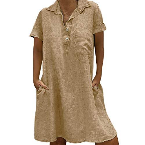LOPILY Damen Sommerkleider Einfarbig Einfach Bequem Freizeit Minikleid Frauenkleid mit Knopf Lose Taschen Tunika Blusenkleider Übergröße Kleider(Beige,EU-44/CN-XL)