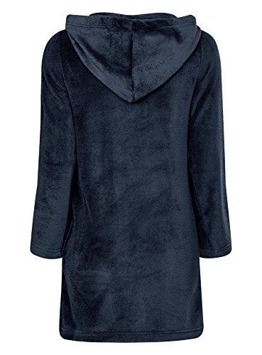 oodji Ultra Femme Robe d'Intérieur à Capuche Bleu (7900N)