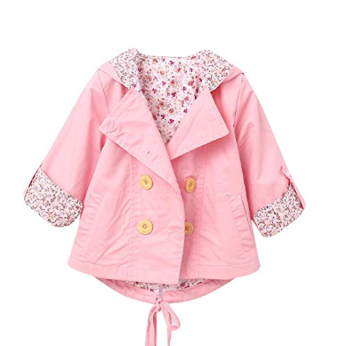 for 0-24 Months, Internet Baby Kid Girls Floral Print Coat Outerwear Windbreaker Baby Jackets Clothes (24M, Pink)