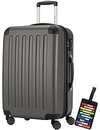 Hauptstadtkoffer® Bagaglio a mano (82 litri) con un lucchetto TSA Seria SPREE (Colore Grafite con 1 ciondolo per la valigia)