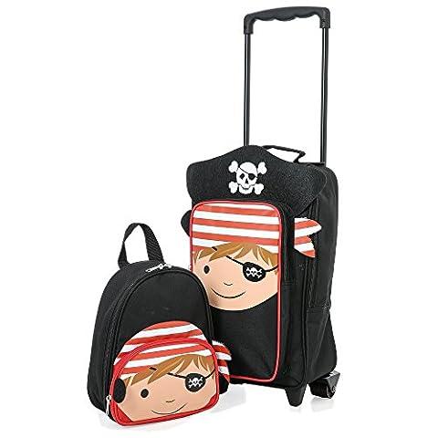 Kinder Gepäck Kinder tragen Koffer Reise Gepäck Trolley und Rucksack Set (Pirat Wagen Tasche)