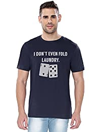 The Souled Store Poker Fold Laundry Funny Printed Premium NAVY BLUE Cotton T-shirt for Men Women and Girls