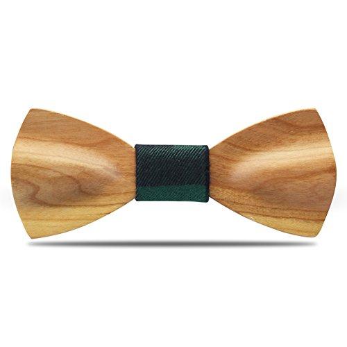 YFWOOD YFWOOD Männer Fliege Handgefertigte Kirschholz Holz Selbst Krawatte Einzigartige Holz Geschnitzte Kleidung Anzug Vor Gebundene Fliege mit Verstellbaren Riemen