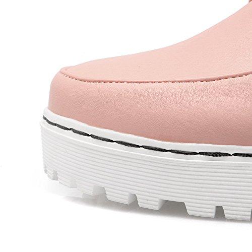 AgooLar Rond à Correct Chaussures Légeres Femme Lacet Matière Talon Rose Unie Couleur Mélangee rrY0xU