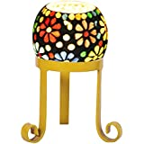 Golden Round With Red Glass Candle Holder
