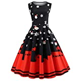 Fenverk Damen Elegante Kleider Weihnachten Kleid Ärmellos Vintage Abendkleider Cocktailkleid Party Rockabilly Kleid Midi Kleid Bodycon Prom Swing Dress(Schwarz,XL)