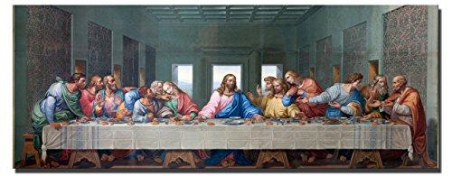 Fajerminart - Leinwandbilder Wandkunst - Gott Jesus Immer groß Poster Das Letzte Abendmahl Bilder, Geeignet Wohnzimmer Schlafzimmer, Büro Dekoration Leinwanddruck Malerei 70x210cm(Kein Rahmen)