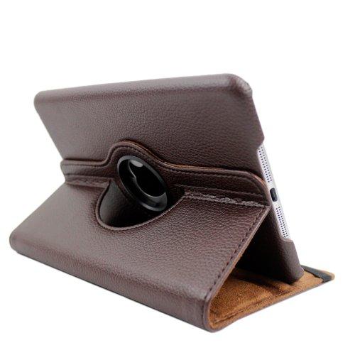 FullDream Étui de protection en cuir rotatif à 360° pour iPad Mini avec fonction de veille et de réveil automatique + film de protection d'écran et stylet - - braun