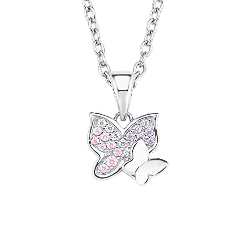 Prinzessin Lillifee Mädchen-Kette 35+3cm mit Anhänger Schmetterling 925 Sterling Silber Zirkonia rosa lila (Schmetterling Halskette Für Mädchen)