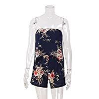 Women Casual Strapless Floral Printed Short Jumpsuit Romper