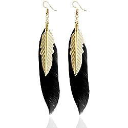 LUFA Pendientes de plumas con pendientes de oro de color pequeños pendientes de plumas para las mujeres