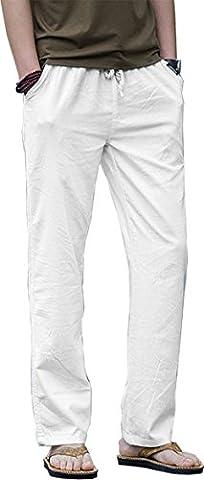 HOEREV Men Casual Strandhosen Leinen Hose - Weiß - L