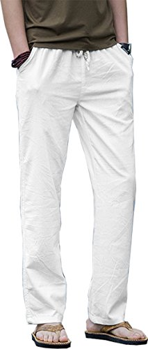 Casual Beach Trousers White linen Pants for George Michael 80s Dress-Up