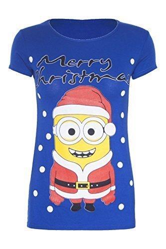 Be Jealous - T-shirt de Noël à motif de père Noël/bonhomme de neige avec paillettes pour femmes Merry Christmas larbins bleu roi
