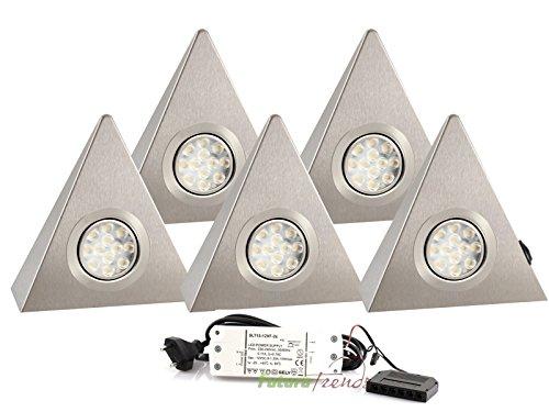5er Set LED Dreieckleuchte Unterbauleuchte Küchenleuchte EDELSTAHL 3W Warmweiß mit Zentralschalter