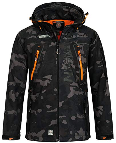 Geographical Norway Herren Softshell Outdoor Jacke Tambour/Taco/Techno abnehmbare Kapuze Black/orange M