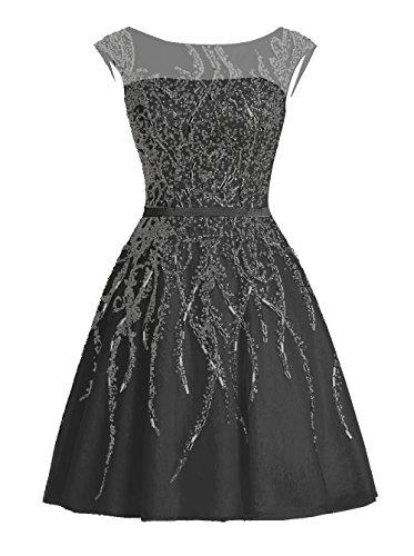 Dressystar Robe femme, Robe de bal courte élégante, à paillettes strass à fleur, en Tulle Noir