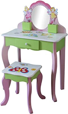 Liberty House Toys Butterfly Dressing Table and Stool, Pink - low-cost UK dressing table shop.