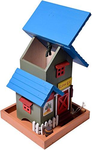 dobar 25108FSC Buntes Deko Vogelhaus Western zum Aufhängen aus Holz, Futterhaus Flower Shop, bunt - 3