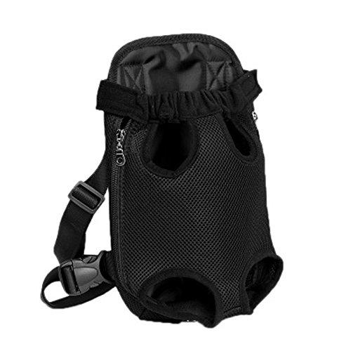 QHGstore Pet Dog Carrier Zaino anteriore pacchetto Samll Moda Viaggi gambe Comfort maglia nera L