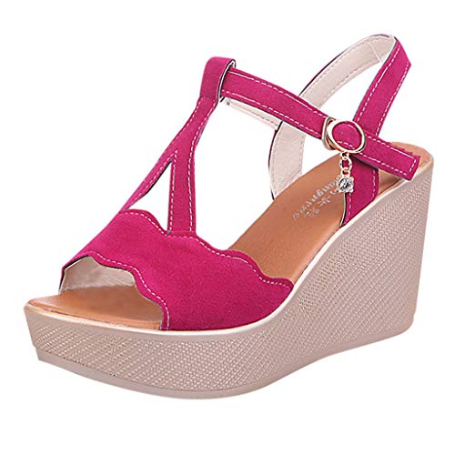UOWEG Keile Sandalen für Damen Open Toe atmungsaktive Strand Sandalen Rom Gummiband Casual Wedges Schuhe Pink Toe Pumps