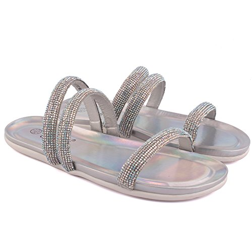 Unze Donne 'Rubie' piatto decorato pistoni di estate del partito di promenade Get Together Brunch Carnevale matrimonio serale slip-on dei sandali calza il formato 3-8 Argento