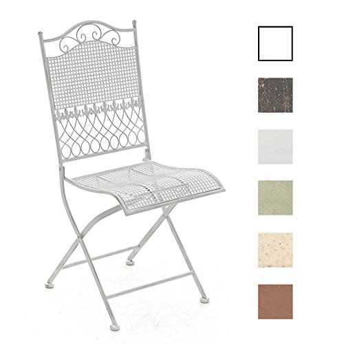 CLP Eisen-Klappstuhl Kiran im Jugendstil I Klappbarer Gartenstuhl mit edlen Verzierungen I erhältlich Antik Weiß