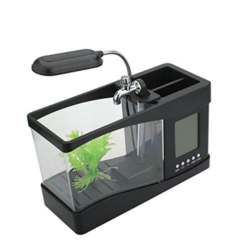 Mini-acquario portapenne multifunzione, con USB, luce LED 5V per tastiera laptop, display con orologio, sveglia, calendario, temperatura, bianco e nero Black