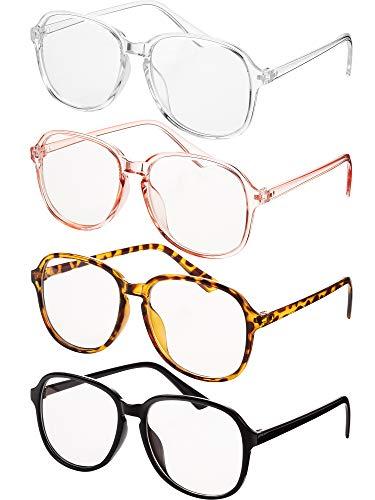 4 Stücke Klare Linse Brille Mode Klare Rahmen Brillen für Männer und Damen Verschiedene Farben Austauschbare Linse Rahmen