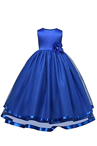 YMING Kinder Kleider Festlich Brautjungfern Kleid Prinzessin Hochzeit Party Kleid Tütü Kleid,Dunkel Blau,2-3 Jahre Alt (Kleider Kinder Navy Brautjungfer)