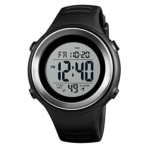 BAIYI Men es Outdoor Sports Watch Luxury Led Luminous Digital Alarm Clock Point Waterproof Men es Electronic Watch Countdown,Chrome - Chrome Digital Uhr