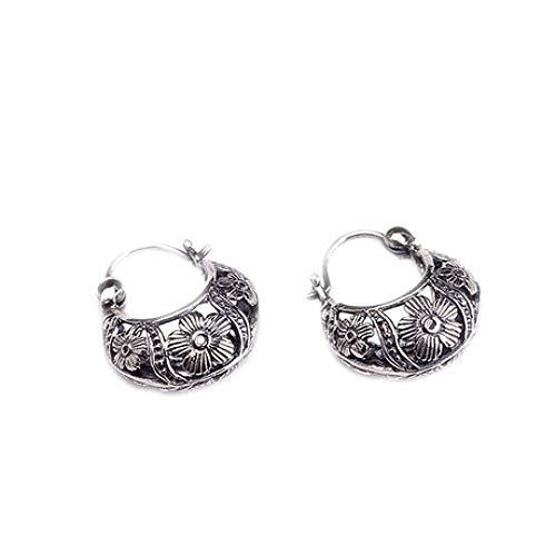 Zhenfa orecchini in argento s925, orecchini classici alla moda, incisione vintage, ipoallergenico, con scatola per gioielli, adatto per donna