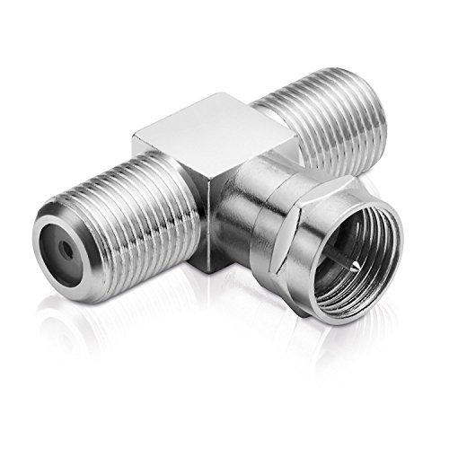 adaptare 60603 - Sat Splitter/T-Stück (F-Stecker auf 2x F-Buchse), vernickelt