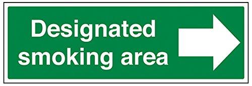 vsafety 57016bj-r/Pfeil rechts DESIGNATED SMOKING AREA Verbot Zeichen, starrer Kunststoff, Landschaft, 450mm x 150mm, grün