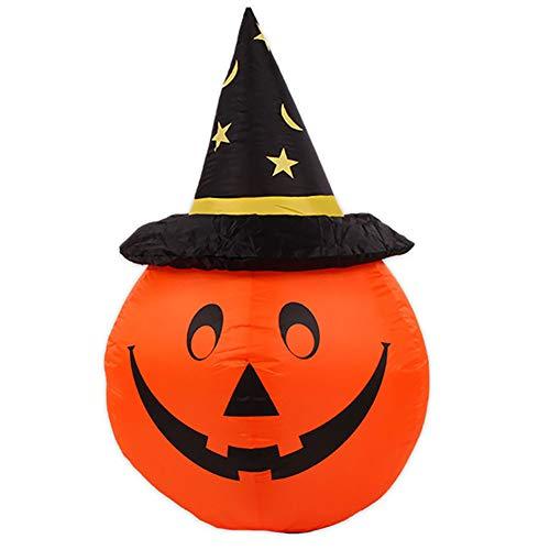Halloween Aufblasbar Kürbis Geist Mit Hexe LED Licht Draussen Garten Urlaub Dekoration Intern Gebläse - Orange