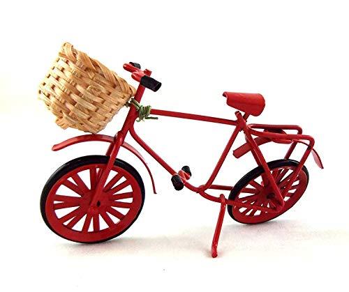 Melody Jane Maisons de Poupées Miniature Jardin Boutique Rouge Accessoire Vélo W Panier