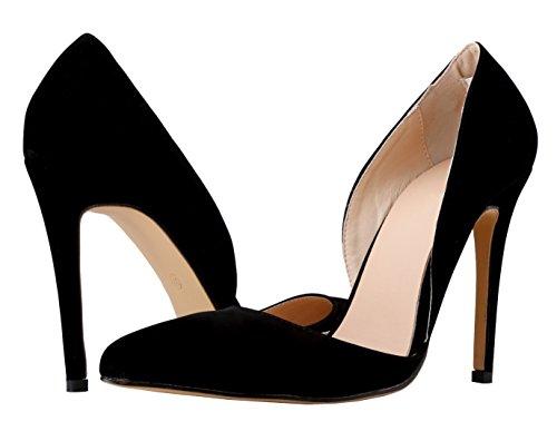 HooH Femmes Flanelle Pointed Toe D'Orsay Mariage Pumps Noir