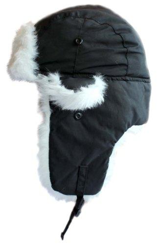 Black With White Fur Waterproof Russian Thermal Fleece Unisex Ear