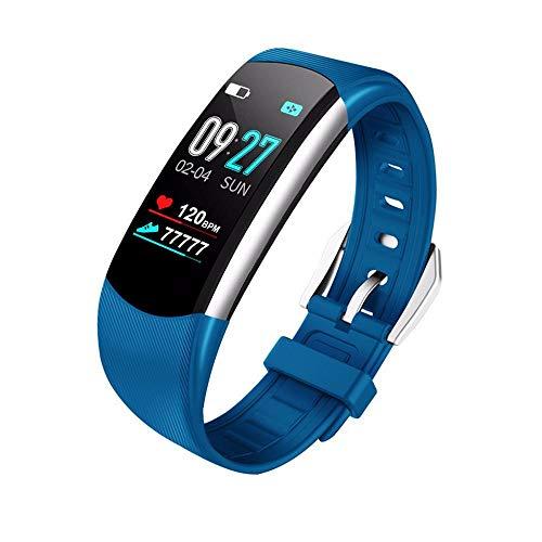 NINGSANJIN Smartwatch Fitness Armband mit Pulsmesser,Wasserdicht Fitness Tracker Farbbildschirm Aktivitätstracker Schrittzähler Uhr Vibrationsalarm Anruf SMS Beachten mit iOS Android Blau (Wearable Tracker)