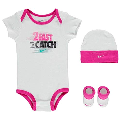 Nike Baby Mädchen Girls Set Bodysuit Cap Socken Schuhe 0-6 Monate Weiß Rosa Schuhe Baby-schuhe