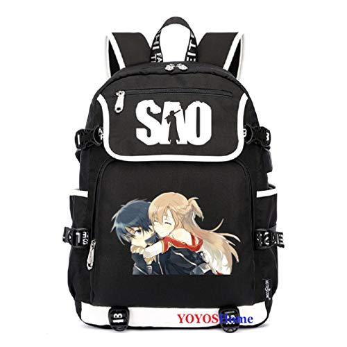 YOYOSHome Anime Sword Art Online Cosplay Büchertasche Daypack Laptoptasche Rucksack Schultasche, 2 (Schwarz) - yyyo3