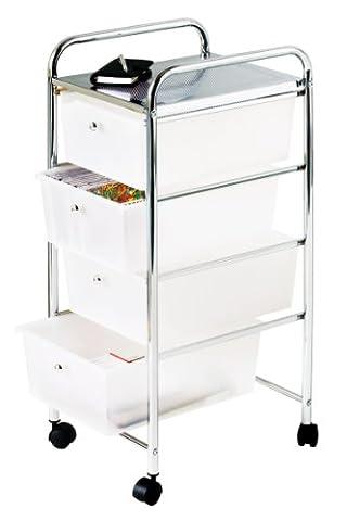 Premier Housewares 4 Drawer Storage Trolley with Chrome Frame - 79 x 39 x 33 cm - White