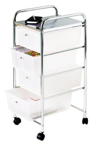 Premier Housewares Carrello con 4 cassetti, telaio cromato, 81 x 39 x 33 cm, colore: Bianco