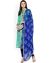 Monika Silk Mill Women's Latest Green Color Chanderi Cotton Embroidered Festival Collection Casual Wear Party...